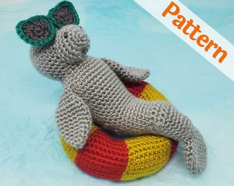 Manatee in Pool Floaty amigurumi crochet pattern, printable .pdf