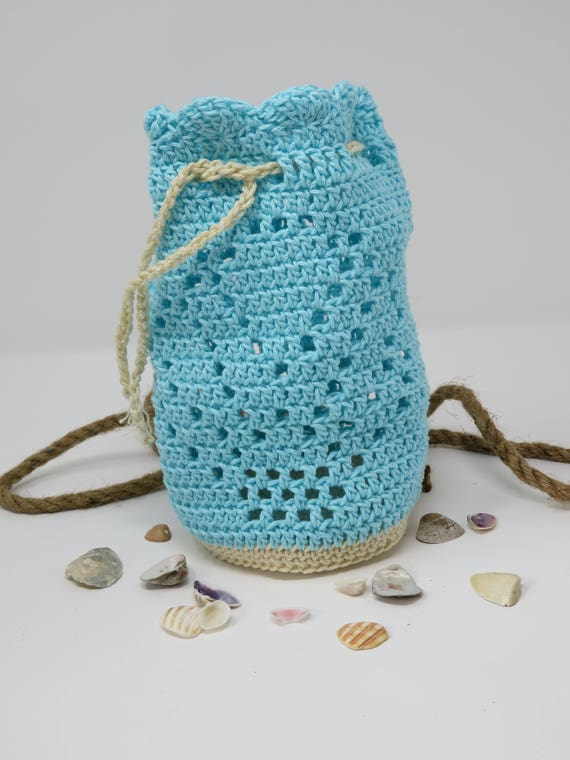 Seashell Bag Crochet Pattern Collecting Pouch Beach Bag Etsy