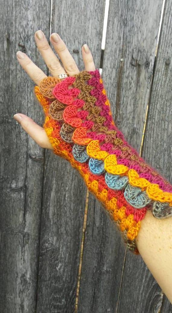 Dragon Scale Stripe Mitts CROCHET PATTERN fingerless gloves | Etsy