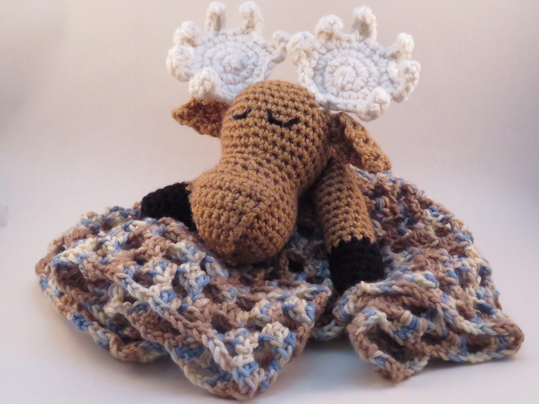 Moose Lovey Crochet Pattern Amigurumi Head Baby Blanket Etsy