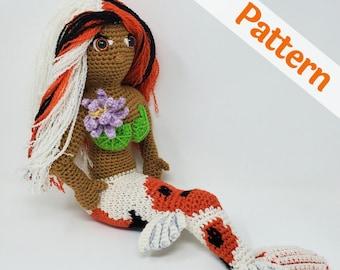 Koi Mermaid amigurumi CROCHET PATTERN, Grace the Koi Mermaid doll, printable pdf