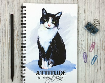 Cat Notebook, Cat Journal, Cat Lover Gift, Lined Notebook, Gifts for Her, Blank Notebook