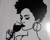 Lady with Wine Glass Decal, Afro Girl Decal, Vinyl Decal, mug decal, glass decal, car decal, cup decal, tumbler decal, wine vinyl sticker,