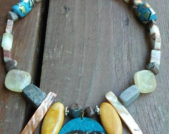 Stone and Beaded  necklace, elephant necklace, elephant jewelry, teal stone necklace,