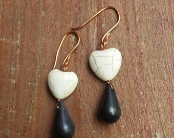 Copper and stone earrings, copper jewelry, copper earrings, copper heart earrings