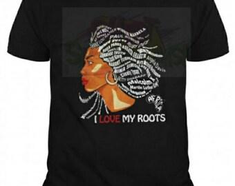 I love my Roots Rhinestone Shirt,  Roots Shirt, Black Heritage Shirt, Afrocentric Shirt,  Black History Tee, Roots Tshirt, Graphic Tee