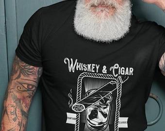 Whiskey and Cigar Shirt, Whiskey shirt, cigar shirt, whiskey shirt with cigar, men's cigar shirt