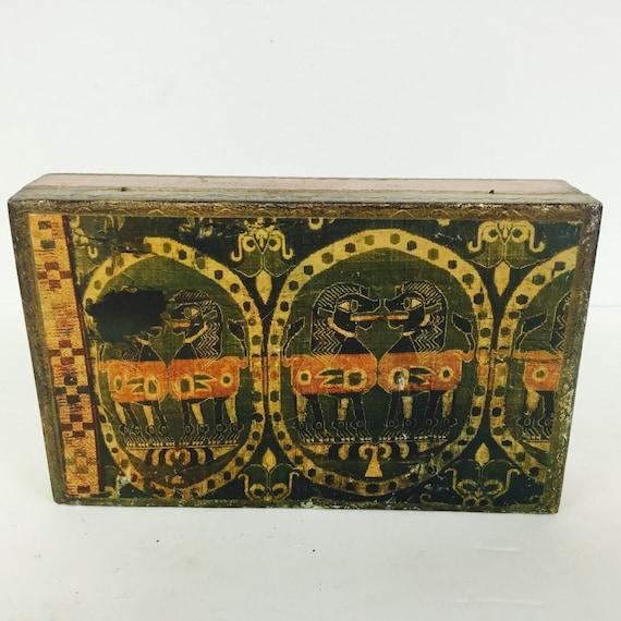 Vintage Italian Florentine Box  Ancient Egyptian Sphinx Gilt Box  Mid Century Foo Dogs  Eclectic Decor