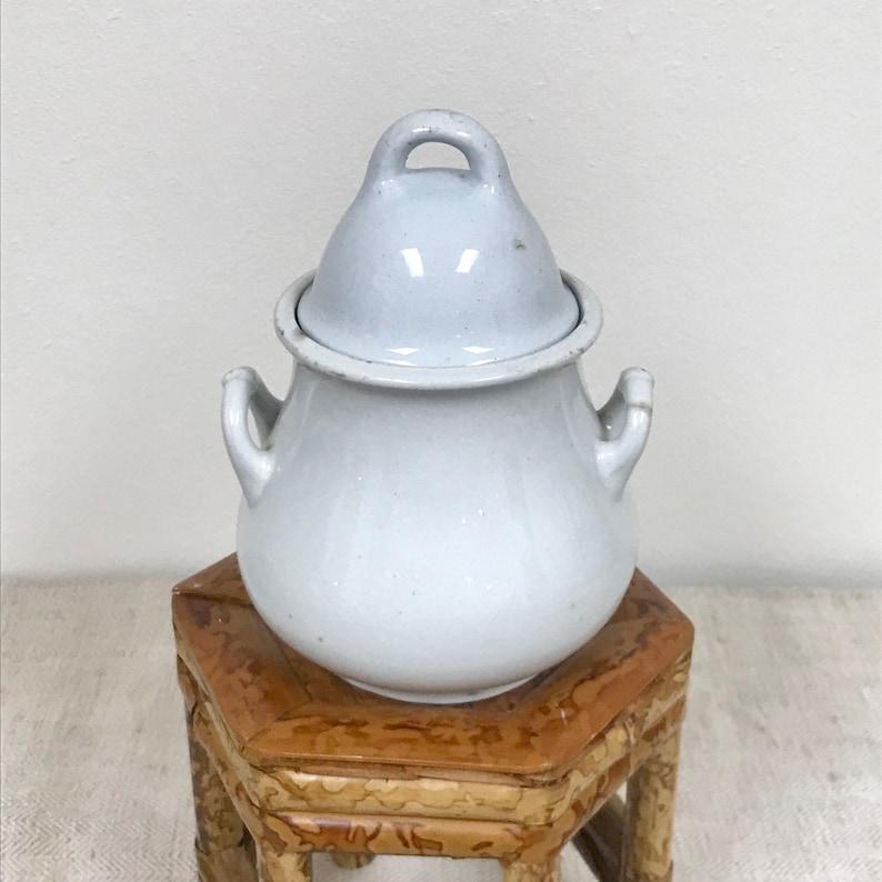 Antique Early English Lidded Sugar Bowl by Henry Alcock /& Co  Plain Uplift Pattern White Ironstone  Wedding Decor  Modern Farmhouse Styl