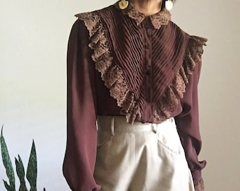 vintage 70s lace ruffled pintucked victorian edwardian inspired blouse