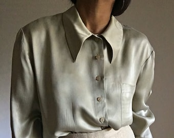 vintage sage silk pointy collar relaxed fit minimal blouse