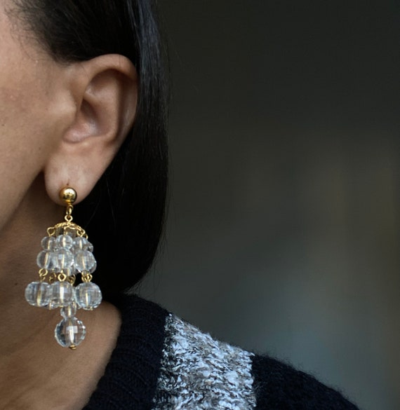 vintage cluster chandelier earrings