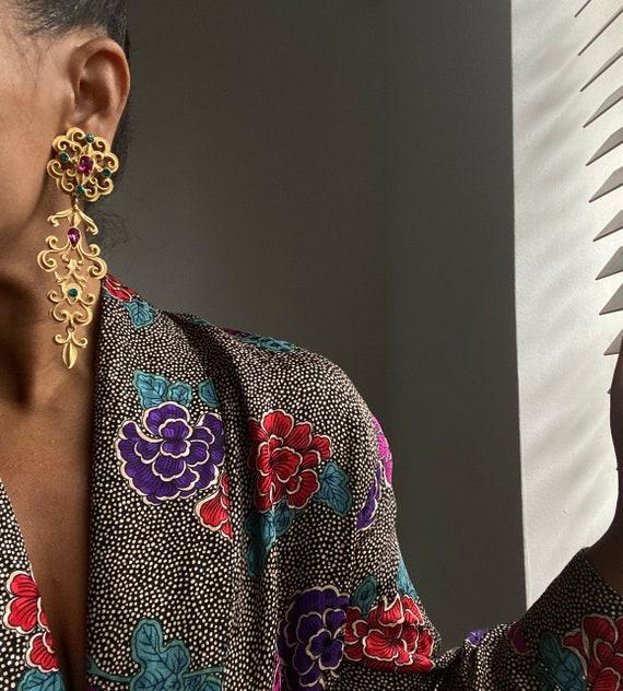 vintage ornate statement chandelier earrings