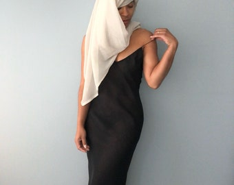 vintage minimal 70s bias cut sheer layered low scoop back slip