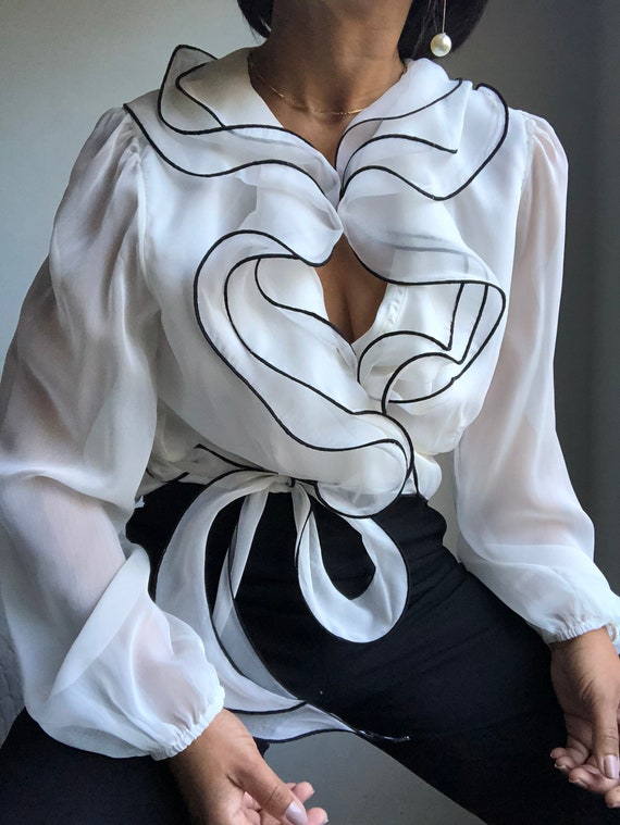 vintage organza evening puff sleeve wrap blouse