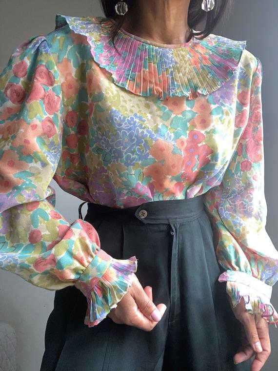 vintage princess puff sleeve novelty print blouse - image 3