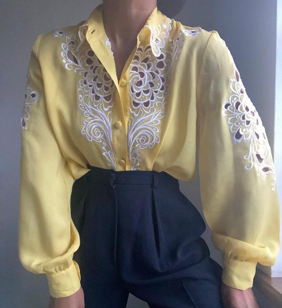 vintage pure silk embroidered sheer statement blo… - image 1