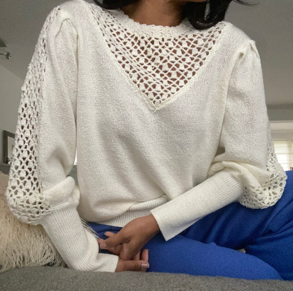 vintage soft knit escalloped puff sleeve sweater