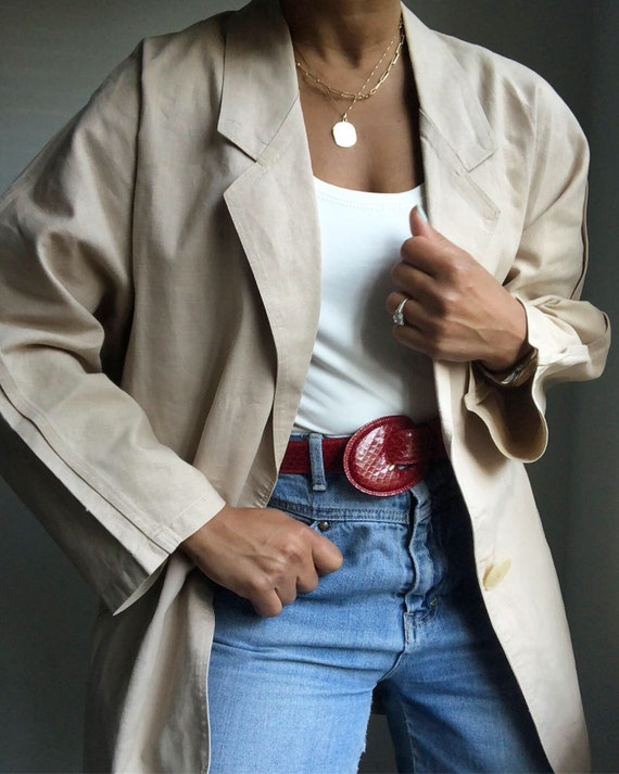 vintage cotton ramie blend oversized stitched slee