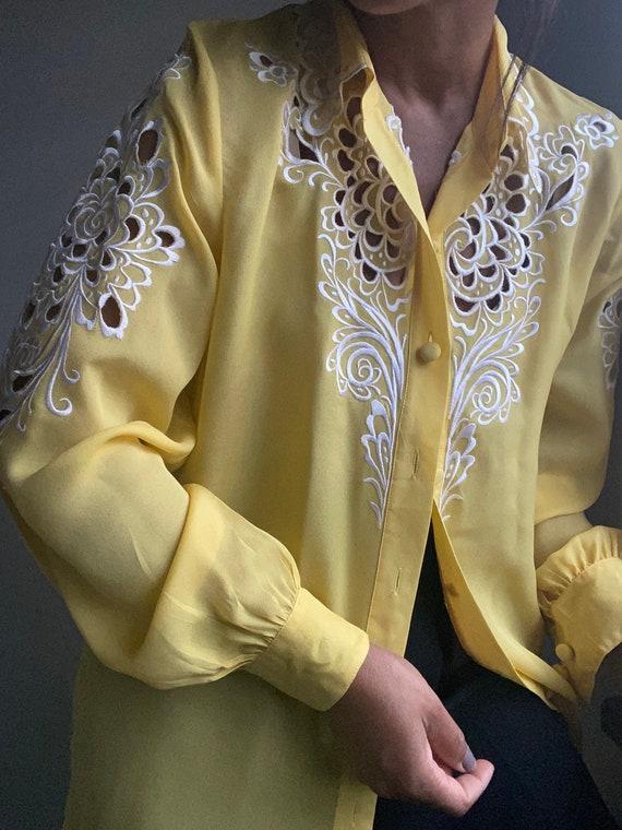 vintage pure silk embroidered sheer statement blo… - image 9