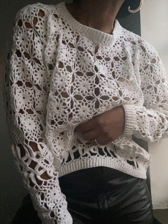 vintage intricate cotton crochet pullover