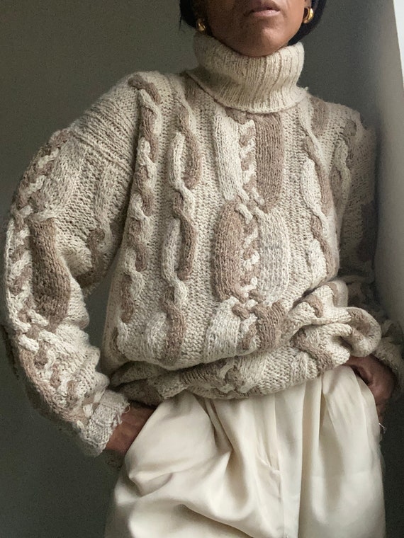 vintage slouchy oversized hand knit textured  cott