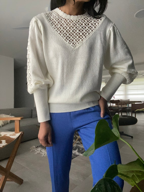 vintage soft knit escalloped puff sleeve sweater - image 2