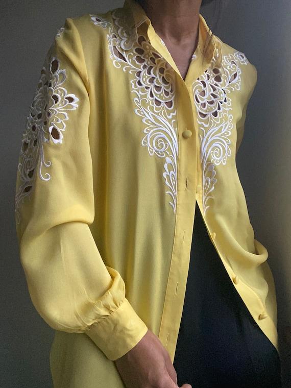 vintage pure silk embroidered sheer statement blo… - image 10