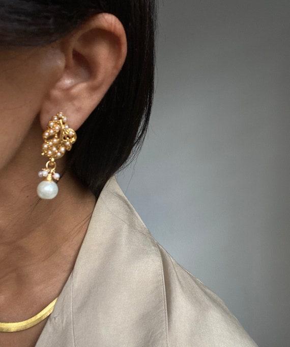 vintage statement earrings faux pearl teardrop sha
