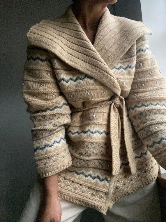 vintage icelandic style chunky oversized wool wrap