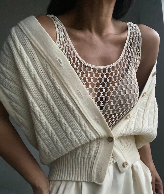 vintage relaxed fit cable knit  gilet vest top