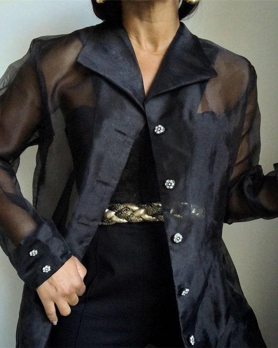 vintage organza sheer evening over blouse