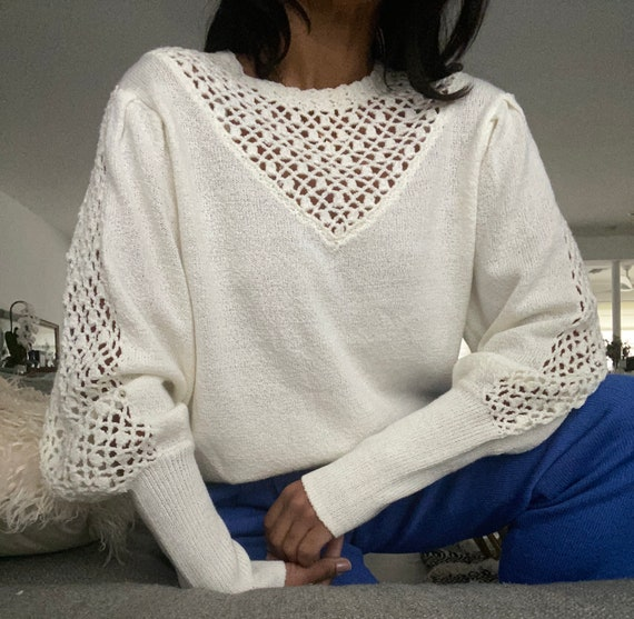 vintage soft knit escalloped puff sleeve sweater - image 6