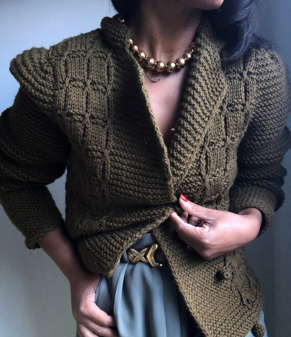 vintage ELLEN TRACY hand knit wool puff sleeve swe