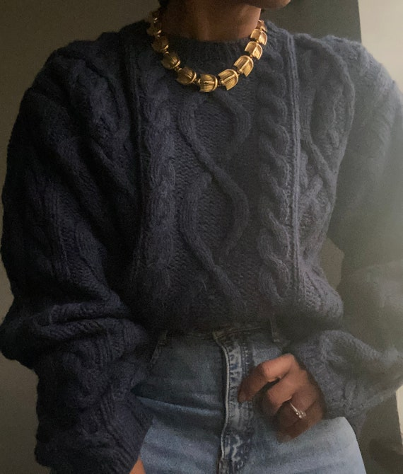 vintage thick essential hand knit wool fisherman p