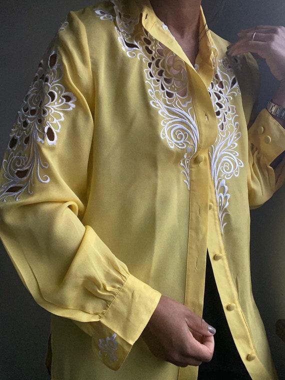 vintage pure silk embroidered sheer statement blo… - image 7