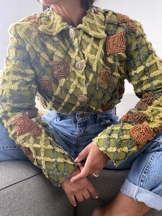 vintage boxy chenille cotton textured jacket