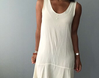 vintage ruffled hem mini slip dress