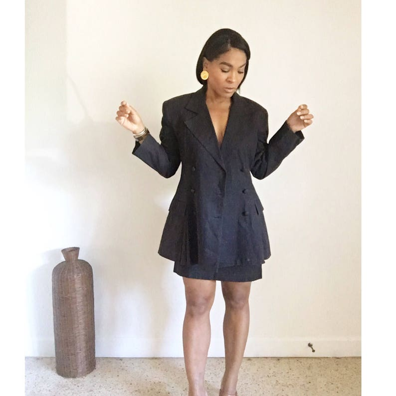 vintage femme double breasted mini skirt power suit