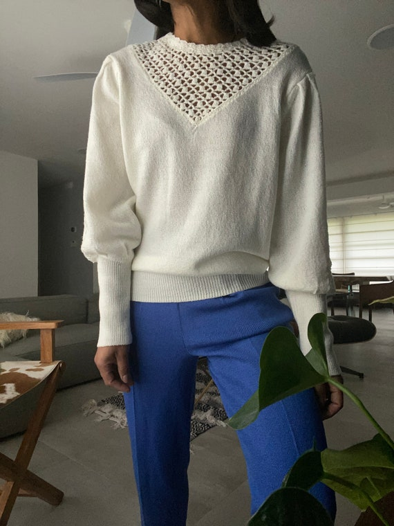 vintage soft knit escalloped puff sleeve sweater - image 4