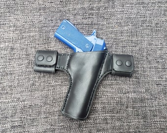 Handmade Leather Snap Loop Pancake Holster Style 2