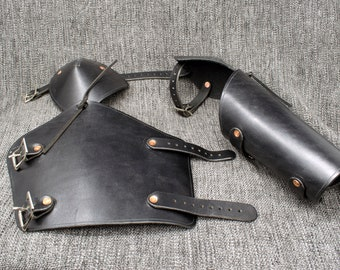 Leather Vambraces with Attached Elbow Armor