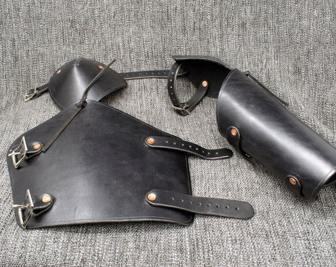 Featured listing image: Leather Vambraces with Attached Elbow Armor