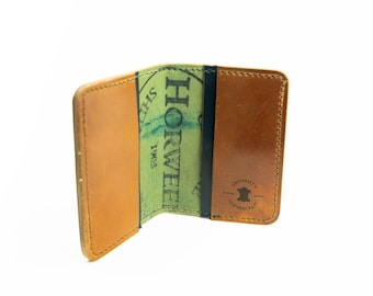 """IN STOCK* """"Bernie"""" Wallet in Blue and Amaretto Horween Shell Cordovan"""