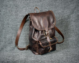 Handmade Bison Leather Backpack