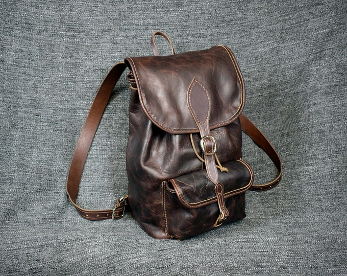 Featured listing image: Handmade Bison Leather Backpack