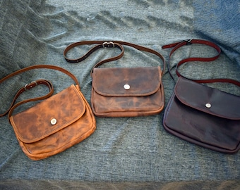 "The ""Outlaw"" Bison Leather Saddlebag Satchel"