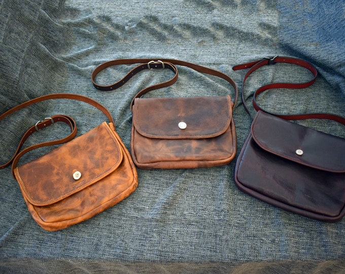 """Featured listing image: The """"Outlaw"""" Bison Leather Saddlebag Satchel"""