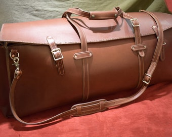 Large Handmade Rigid Leather Duffel Bag