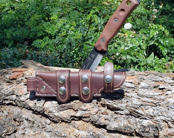 Handmade Leather Scout Sheath For The TOPS Fieldcraft Knife.